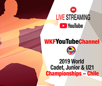 WORLD CADET, JUNIOR & U21 CHAMPIONSHIPS LIVE AND FREE ON WKF YOUTUBE CHANNEL
